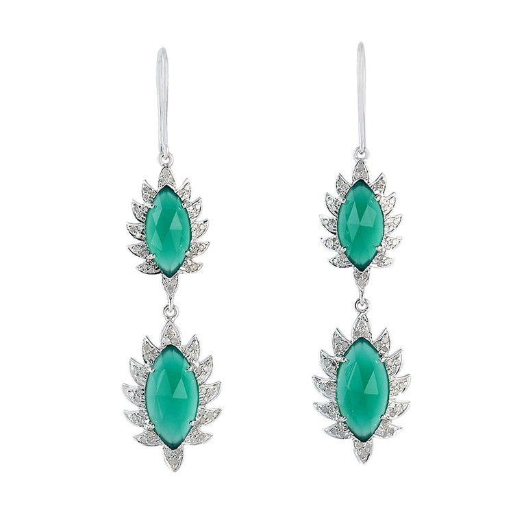Meghna Jewels Claw Double Drop Earrings Green Onyx and Diamonds For Sale