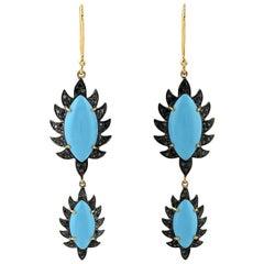 Turquoise Black Diamond Meghna Jewels Marquise Earrings