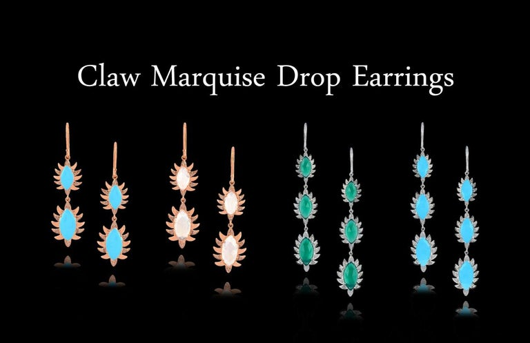 Meghna Jewels Claw Double Drop Earrings Turquoise Diamonds In New Condition For Sale In Hoffman Estate, IL