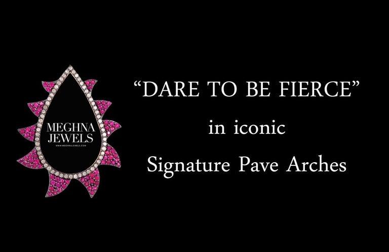 Women's Meghna Jewels Claw Double Drop Earrings Turquoise Diamonds For Sale