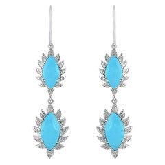 Turquoise Diamond Meghna Jewels Marquise Earrings