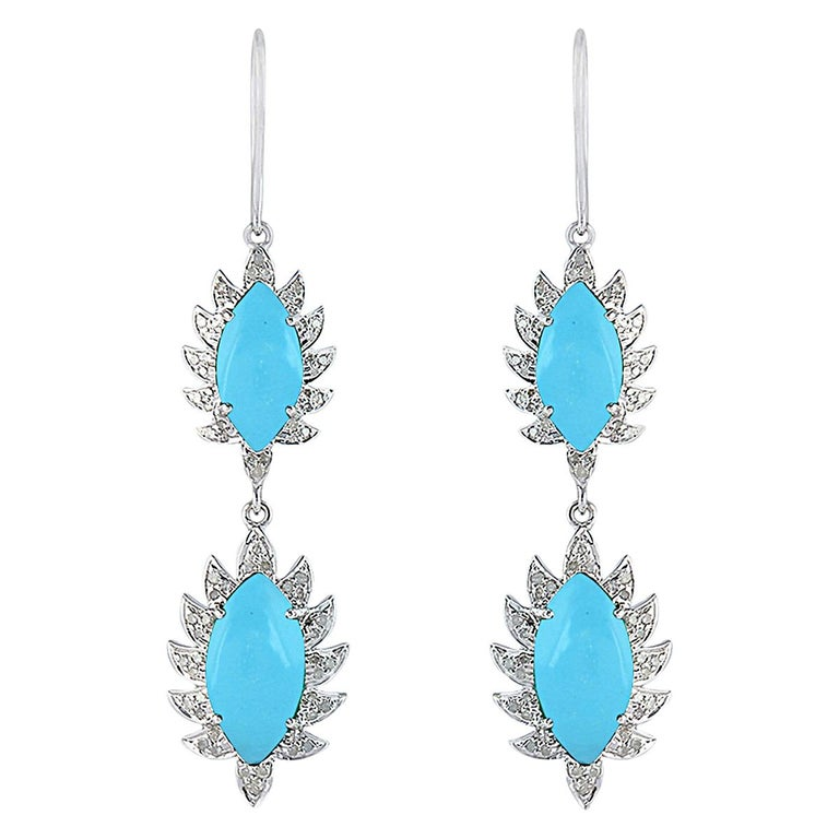 Meghna Jewels Claw Double Drop Earrings Turquoise Diamonds For Sale