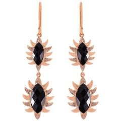 Meghna Jewels Claw Double Drop Marquise Black Onyx and Diamonds Earrings