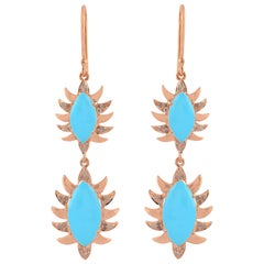 Meghna Jewels Claw Double Drop Marquise Turquoise and Diamonds Earrings