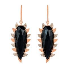 Meghna Jewels Claw Drop Earrings Black Onyx and Alt Diamonds