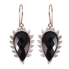 Meghna Jewels Claw Drop Black Onyx Diamond Earrings