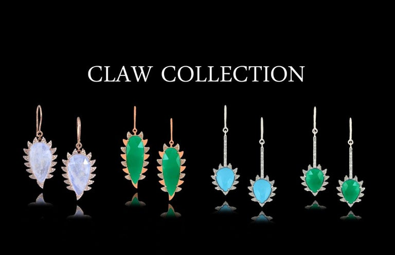 Women's Meghna Jewels Claw Drop Earrings Green Onyx and Alt Diamonds For Sale