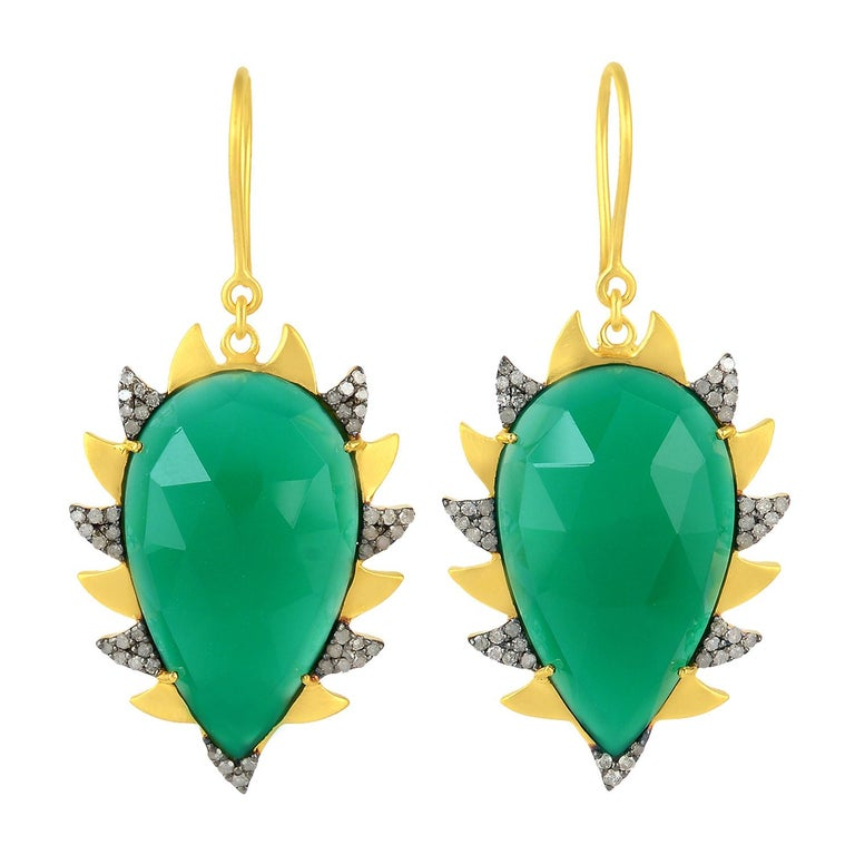 Meghna Jewels Claw Drop Earrings Green Onyx and Alt Diamonds For Sale