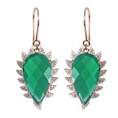 Meghna Jewels Claw Drop Earrings Green Onyx and Diamonds