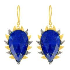 Meghna Jewels Claw Drop Earrings Lapis and Alt Diamonds