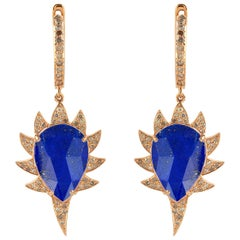 Meghna Jewels Claw Drop Earrings Lapis and Diamonds