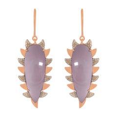 Meghna Jewels Claw Drop Earrings Rose Quartz and Alt Diamonds