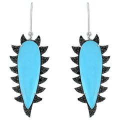Meghna Jewels Claw Drop Earrings Turquoise and Black Diamonds