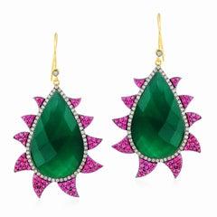 Meghna Jewels Claw Earrings Rubies, Green Onyx and Diamonds