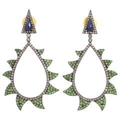 Meghna Jewels Claw Earrings Tsavortie, Blue Sapphire and Diamonds