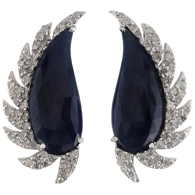Black Onyx Diamond Meghna Jewels Claw Half Moon Studs