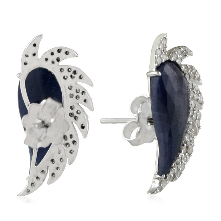 Modern Meghna Jewels Claw Half Moon Studs Blue Sapphire and Diamonds For Sale