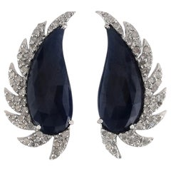 Blue Sapphire Diamond Meghna Jewels Claw Half Moon Stud Earrings