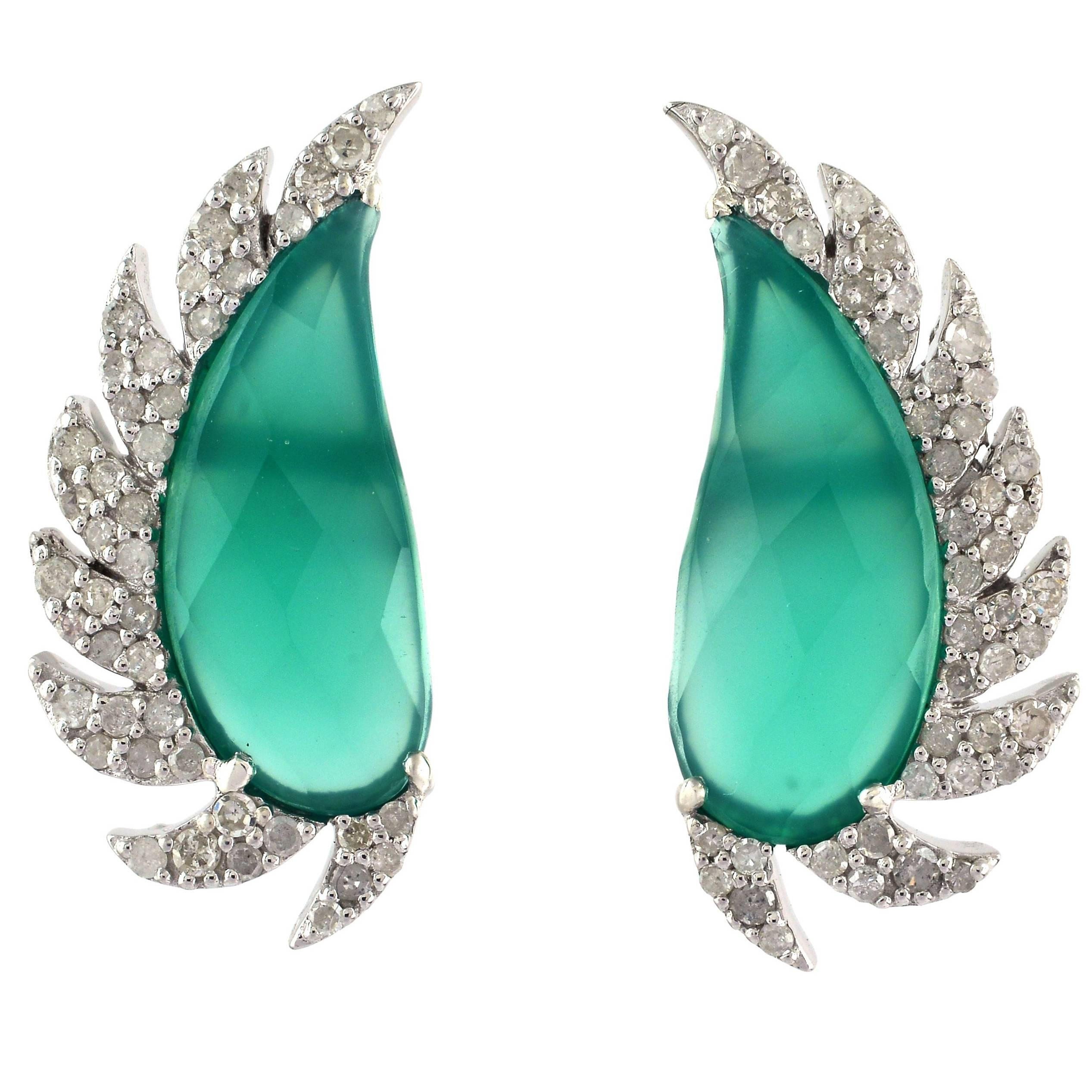 Meghna Jewels Claw Half Moon Green Chalcedony Diamond Stud Earrings