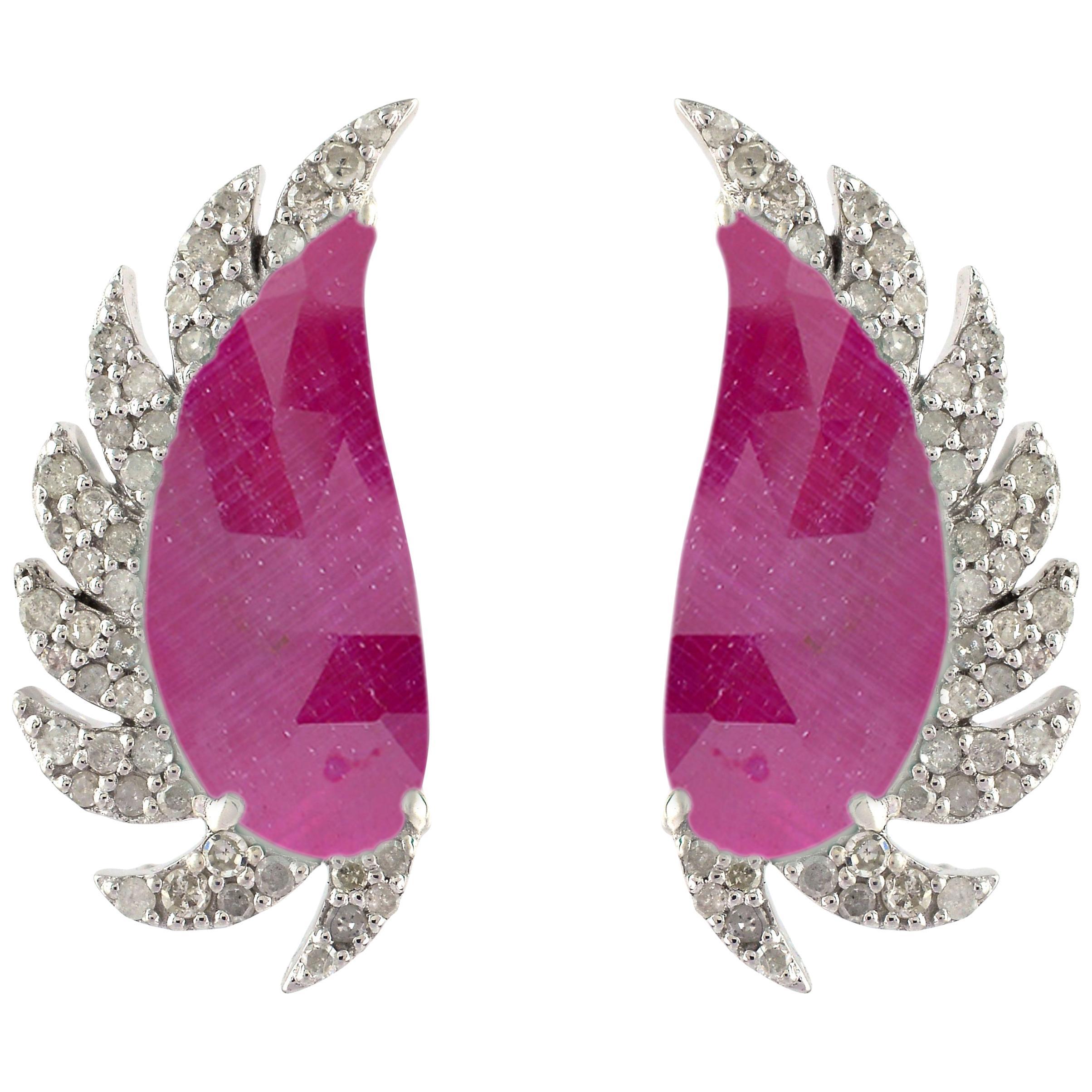 Ruby Diamond Meghna Jewels Claw Half Moon Studs