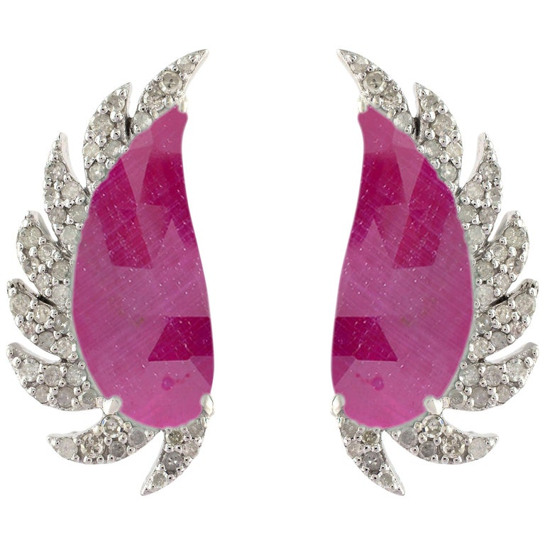 Meghna Jewels Claw Half Moon Studs Ruby and Diamonds For Sale