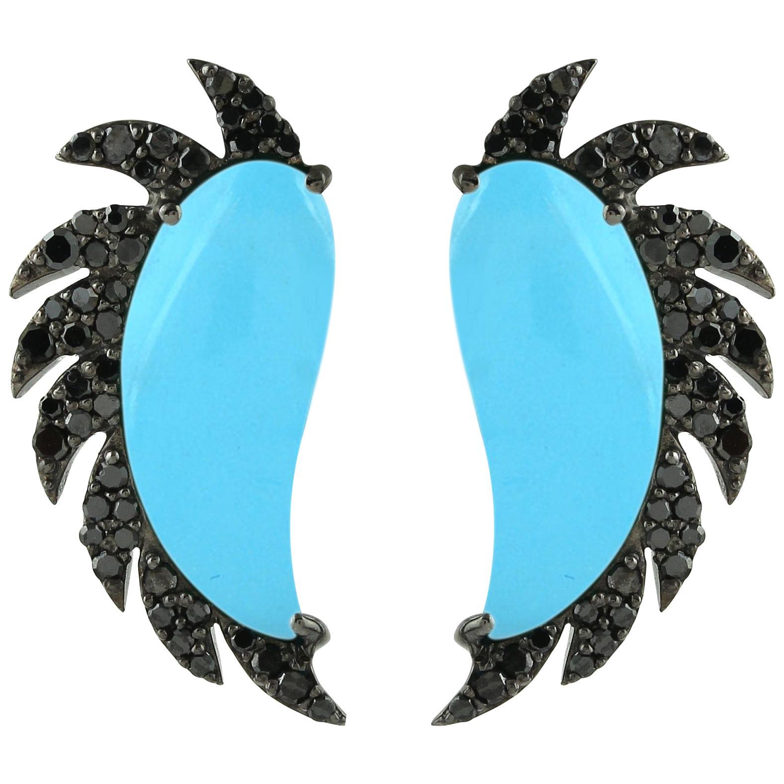Turquoise Black Diamonds Meghna Jewels Claw Half Moon Studs