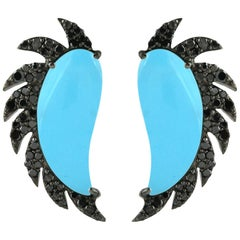 Meghna Jewels Claw Half Moon Studs Turquoise Black Diamonds