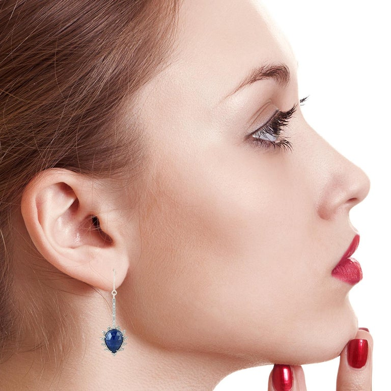 Modern Meghna Jewels Claw Linear Drop Earrings in Blue Sapphire and Diamonds For Sale