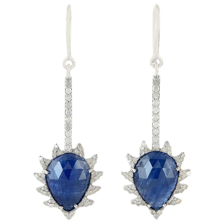 Meghna Jewels Claw Linear Drop Earrings in Blue Sapphire and Diamonds For Sale
