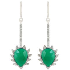 Meghna Jewels Claw Linear Drop Earrings in Green Onyx and Diamonds
