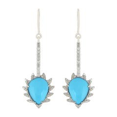 Meghna Jewels Claw Linear Drop Earrings in Turquoise and Diamonds