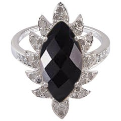 Meghna Jewels Claw Marquise Black Onyx Diamonds Cocktail Ring