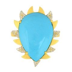 Meghna Jewels Claw Ring Turquoise and Alt Diamonds