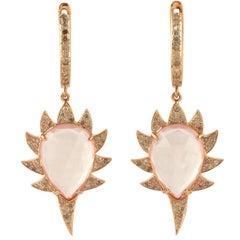 Rose Quartz Diamond Meghna Jewels Claw Earrings
