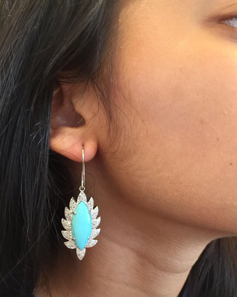 Modern Turquoise Marquise Diamond Drop Earrings For Sale