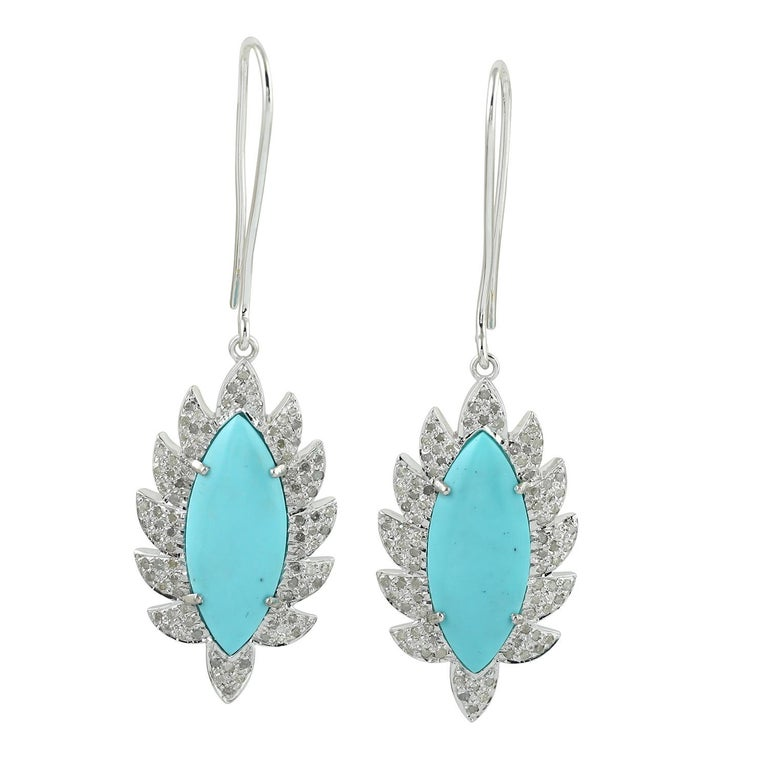Women's Turquoise Marquise Diamond Drop Earrings For Sale