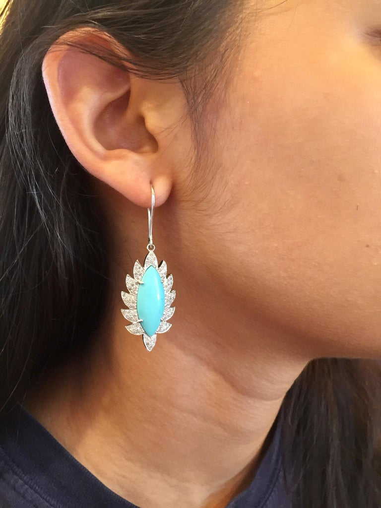 Turquoise Marquise Diamond Drop Earrings For Sale 1