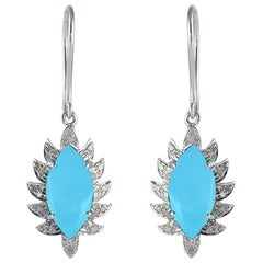 Meghna Jewels Claw Single Drop Turquoise Marquise Earrings and Diamonds