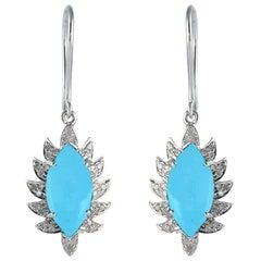 Turquoise Marquise Diamond Drop Earrings