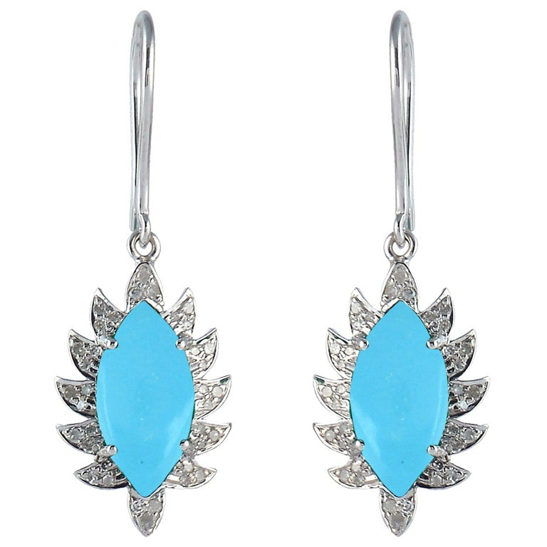 Turquoise Marquise Diamond Drop Earrings For Sale