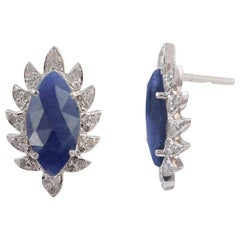 Meghna Jewels Claw Stud Earrings Blue Sapphire and Diamonds