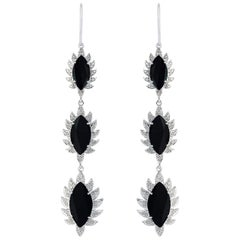 Meghna Jewels Claw Triple Drop Marquise Earrings Black Onyx and Diamonds
