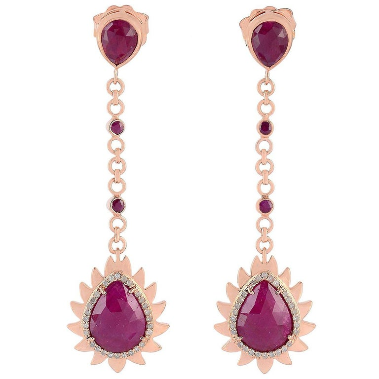 Meghna Jewels Flame Diamonds Ruby Earrings  For Sale