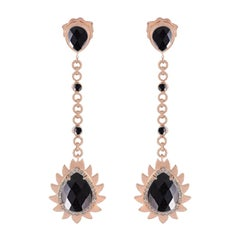 Meghna Jewels Flame Earrings Black Onyx and Diamonds