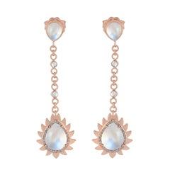 Meghna Jewels Flame Rainbow Moonstone Diamond Earrings