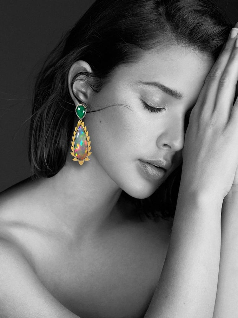 Meghna Jewels Flame Opal Green Onyx Diamonds Drop Earrings In New Condition For Sale In Hoffman Estate, IL