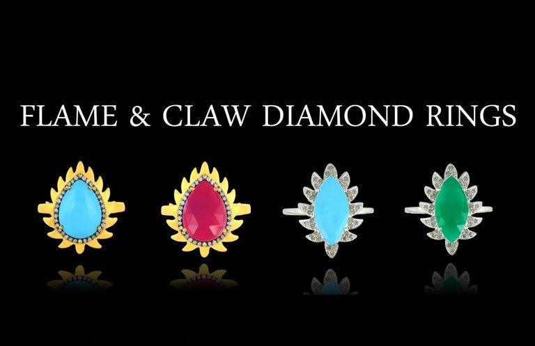 Modern Meghna Jewels Flame Opal Green Onyx Diamonds Drop Earrings For Sale