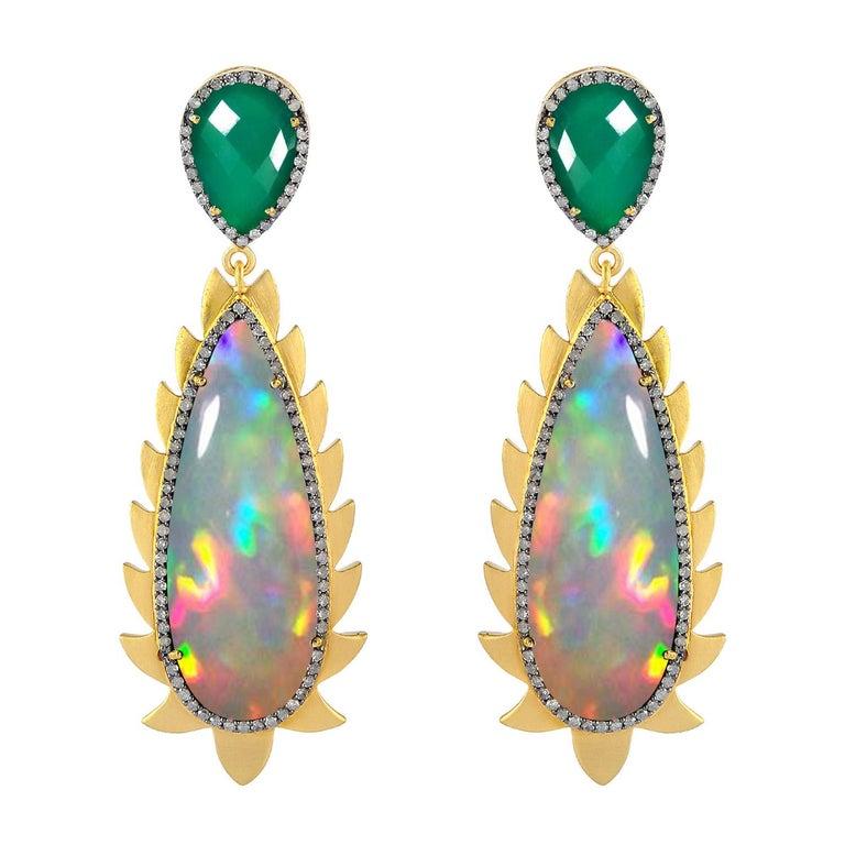 Meghna Jewels Flame Opal Green Onyx Diamonds Drop Earrings For Sale