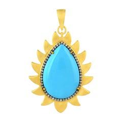 Meghna Jewels Flame Turquoise Diamond Pendant