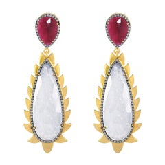 Meghna Jewels Flame Rainbow Moonstone Rubelite Diamonds Drop Earrings